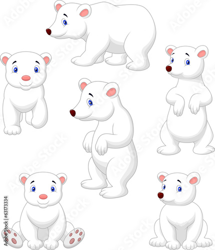 Cute polar bear cartoon collection
