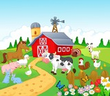 Fototapety Farm background with animals