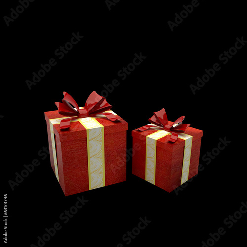 gift box red isolated on black background for christmas