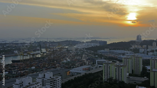Port of Singapore Industrial Scene at Sunset Time Lapse