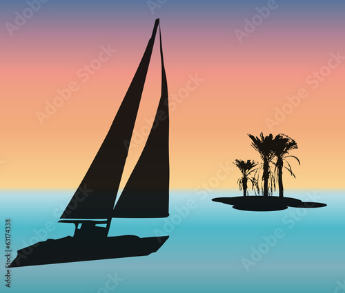 sailboat party sails to desert island, place to write vector