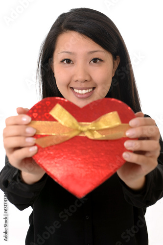 asian chinese woman holding Heart Shape Anniversary Box