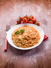 risotto with tomatoes sauce and mozzarella