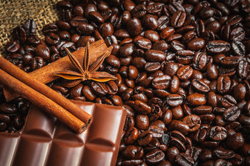 Spices and chocolaete on coffe beans