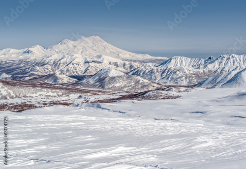 View of Nalychevo Nature Park and Zhupanovsky volcano. Kamchatka