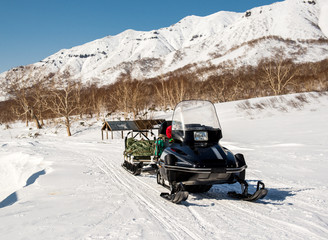 Snowmobile. Kamchatka, Far East, Russia