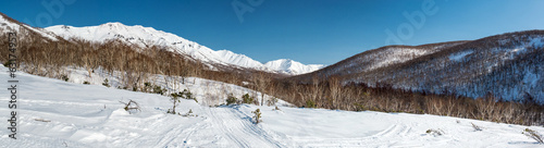 Panoramic view of a mountain pass, route over a ridge. Kamchatka