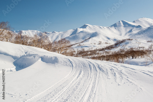 Mountain pass, route over a ridge. Kamchatka Peninsula, Russia