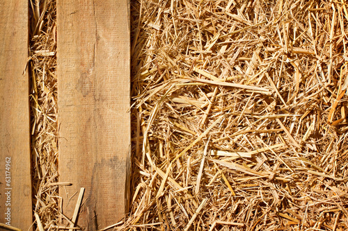 vintage background of wood plank and dry grass, hay design