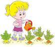 Little girl watering vegetables