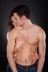 Woman Embracing Passionate Man