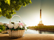 flowers in basket and Eiffel tower, Paris