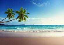 Sonnenuntergang am Strand der Seychellen