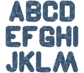 sketched alphabet from letter A to letter M