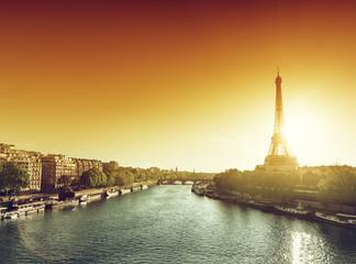 Eiffel tower in sunrise time