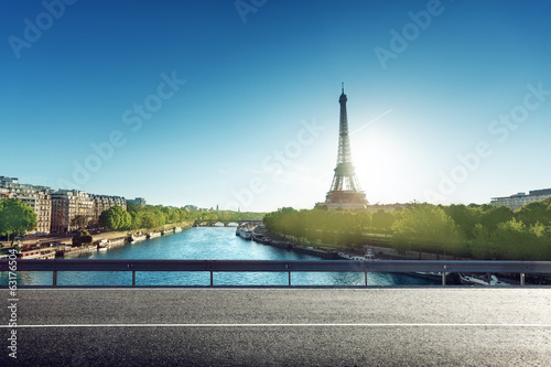 Eiffel Tower and road in sunrise time