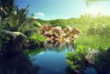 Fototapety lake in jungle of Seychelles, La Digue island