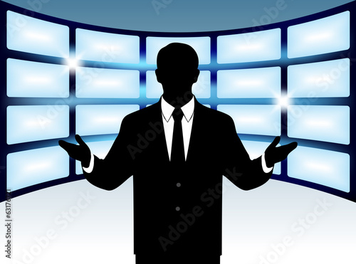 silhouette man on a background of the monitors studio background