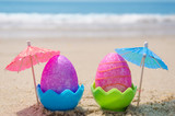 Fototapety Easter eggs on the beach