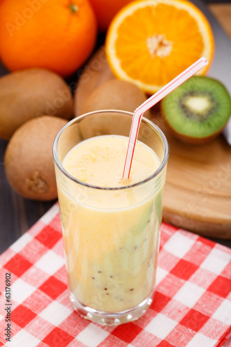 Glass of tropical fruit smoothie