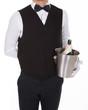 Waiter Holding Champagne Bottle In Cooler