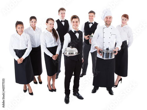 Large group of waiters and waitresses