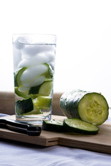 Refreshing glass of cucumber water.