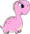 Pink Girl Dinosaur Vector Illustration Art