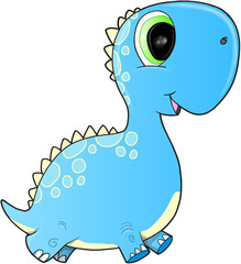Happy Blue Dinosaur Vector Illustration Art