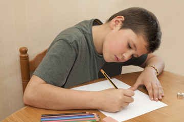 12 year old boy studying