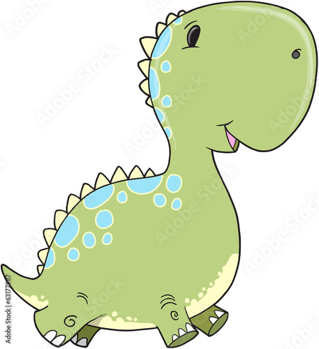 Cute Baby Dinosaur Vector Illustration Art