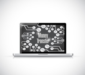 computer money transfer illustration design
