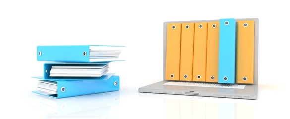computer and folders for documents