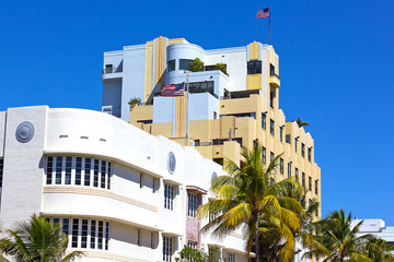 Art Deco architecture of Miami Beach waterfront.