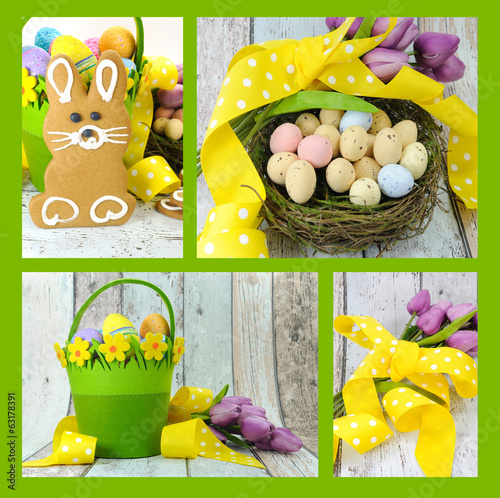 Happy Easter yellow green theme gingerbread bunny collage