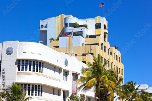 Art Deco architecture of Miami Beach waterfront. - 63178394