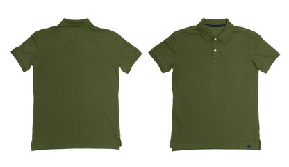 Vintage Dimmed Green color Polo Shirt with white background Men