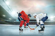 canvas print picture - Ice hockey player on the ice. Open stadium - Winter Classic game