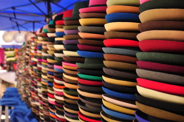 Colorful hats in Ecuadorian market