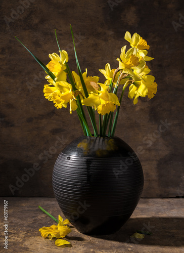Beautiful daffodils in black vase