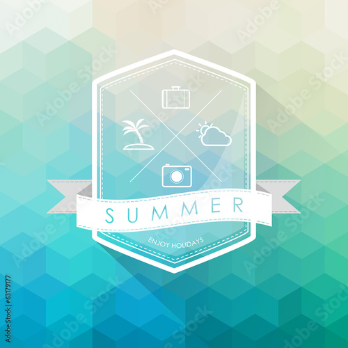 summer label on polygon abstract background