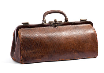 Old brown doctors bag or holdall