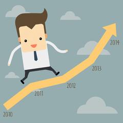businessman running on a graph
