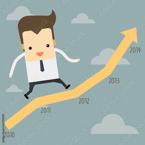businessman running on a graph