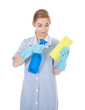 Woman Holding Cleaning Liquid And Sponge