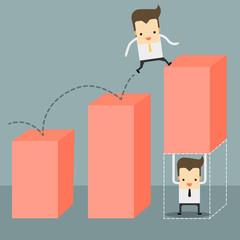 businessman carry a chart going up