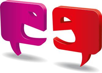 Sprechblasen Streit symbolisch