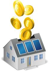 Haus mit Münzen als Spardose mit Solar