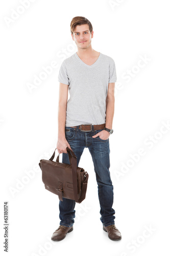 Confident Male Student Carrying Bag