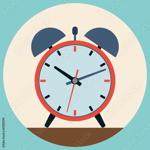 Alarm clock flat vector illustration